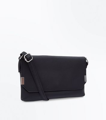 Black Leather-Look Clutch Bag