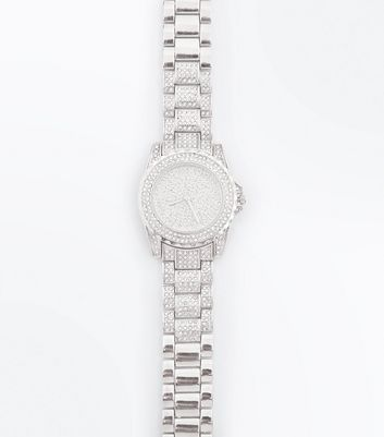 Silver Stone Embellished Sports Watch