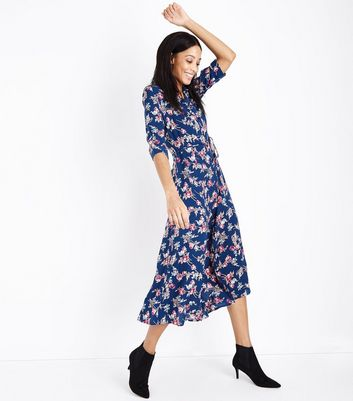Blue Floral Print Maxi Shirt Dress
