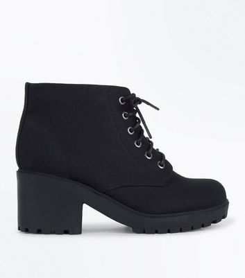 Teens Black Suedette Chunky Boots