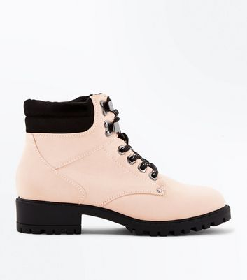 Teens Nude Contrast Lace Up Worker Boots