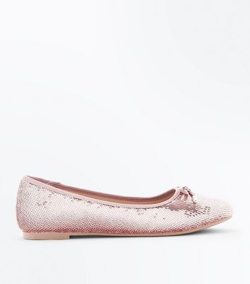 Ados - Ballerines couleur or rose à paillettes
