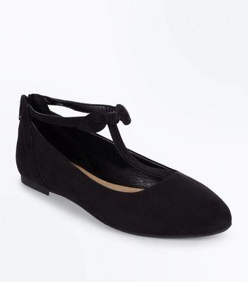 Teenager – Schwarze Ballerinas in Wildleder-Optik mit Zierschleife