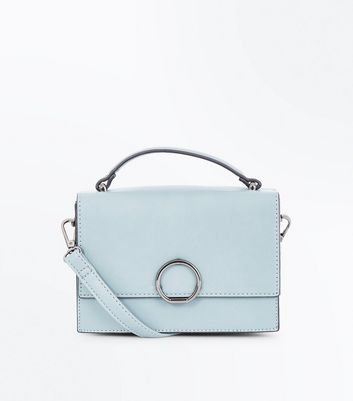 Pale Blue Hoop Front Top Handle Bag