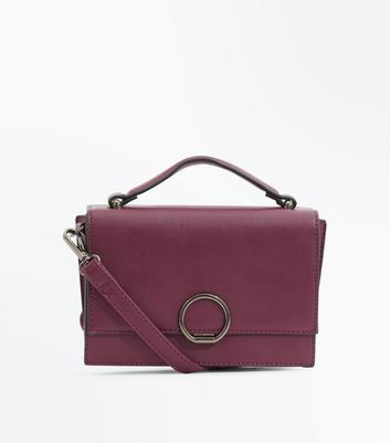 Purple Hoop Front Top Handle Bag