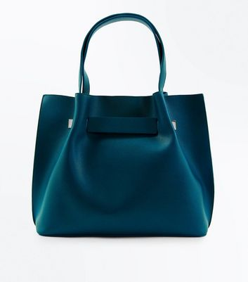 Teal Ruched Tote Bag