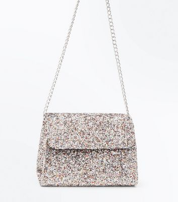 Silver Glitter Structured Chain Strap Bag