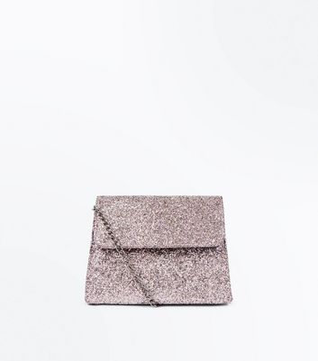 Rose Gold Glitter Structured Chain Strap Bag