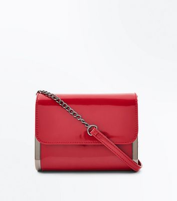 Red Patent Curved Shoulder Bag