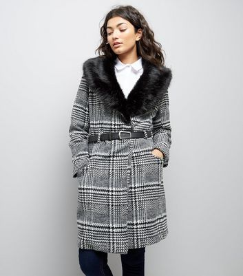 Parisian Black Check Faux Fur Collar Belted Jacket