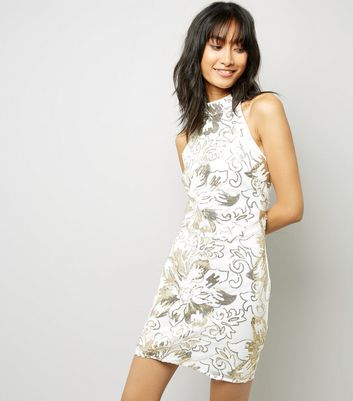 Parisian White Flower Sequin Mesh Dress