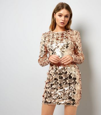 Parisian Shell Pink Sequin Embellished Long Sleeve Dress