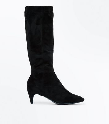 Wide Fit Black Suedette Kitten Heel Boots