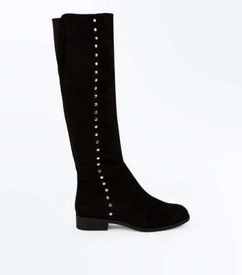 Wide Fit Black Suedette Stud Trim Knee High Boots