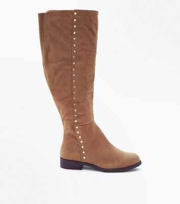 Wide Fit Tan Suedette Stud Trim Knee High Boots