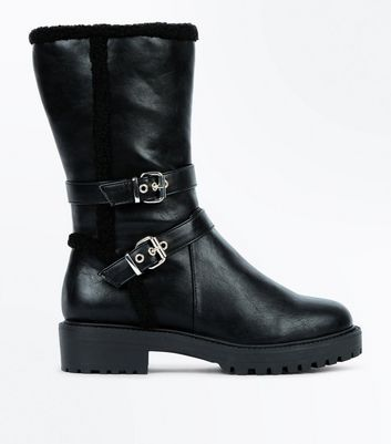 Wide Fit Black Shearling Trim Chunky Calf Boots