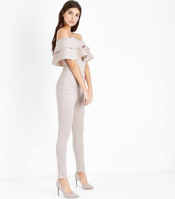 Parisian Shell Pink Frill Trim Bardot Neck Jumpsuit