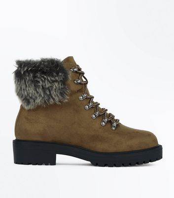 Wide Fit Khaki Suedette Fur Trim Hiker Boots