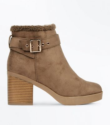 Wide Fit Brown Suedette Shearling Block Heel Boots