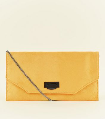Mustard Chain Strap Envelope Clutch Bag