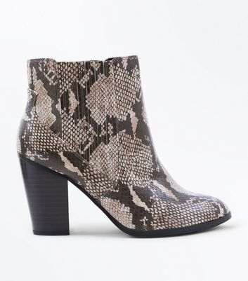 Wide Fit Brown Faux Snakeskin Heeled Boots