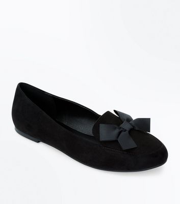 Schwarze Loafer in Wildleder-Optik mit Schleife