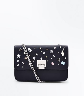 Black Gem And Star Embellished Shoulder Bag