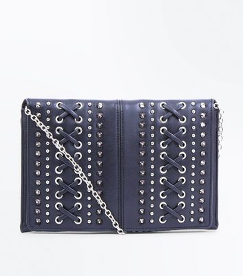 Black Lattice Front Clutch Bag