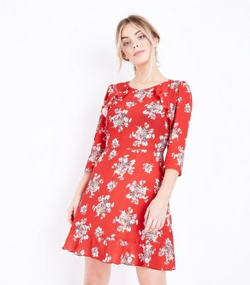 Petite Red Floral Frill Trim Skater Dress