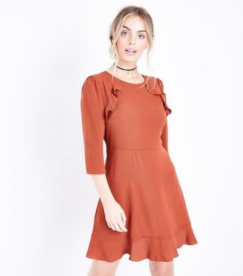 Petite Rust Frill Trim Skater Dress