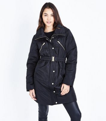 Black Belted Longline Cocoon Puffer Jacket