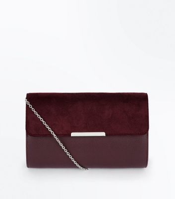 Burgundy Contrast Suedette Chain Shoulder Bag