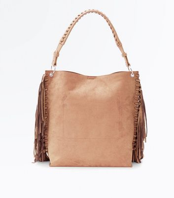 Mink Suedette Fringe Side Hobo Bag