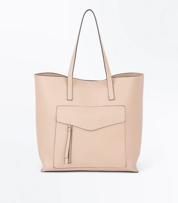 Cream Pocket Front Structured Shopper Bag