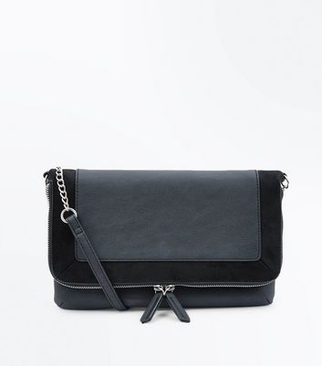 Black Contrast Front Cross Body Bag