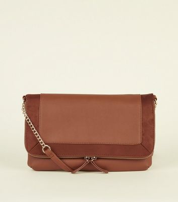 Tan Contrast Front Cross Body Bag