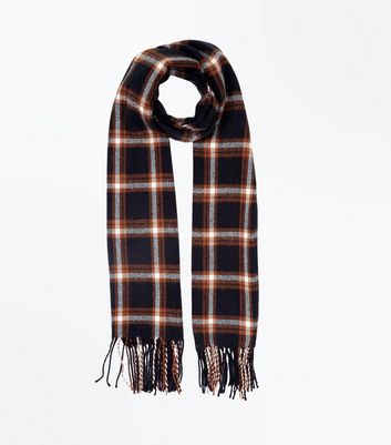 Rust Check Fringed Blanket Scarf