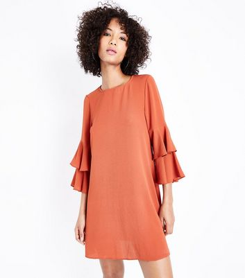 Rust Tiered Sleeve Tunic Dress