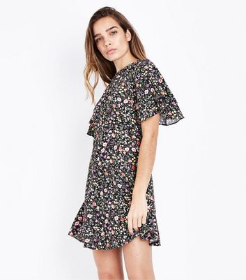 Black Ditsy Floral Print Tiered Sleeve Tea Dress