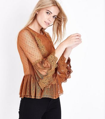 Rust Bell Sleeve Double Peplum Lace Top