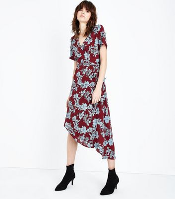 Red Floral Asymmetric Wrap Dress
