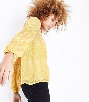Yellow Floral Embroidered Balloon Sleeve Top