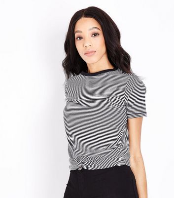 Black Stripe Twist Front T-Shirt