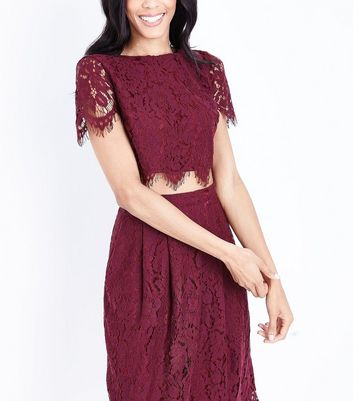 Burgundy Lace Scallop Hem Crop Top