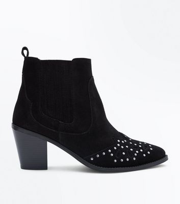 Wide Fit Black Suede Studded Western Boots