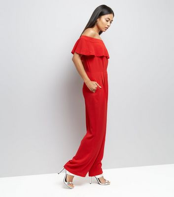 Petite Red Frill Trim Bardot Neck Jumpsuit