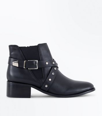 Wide Fit Black Leather Studded Cross Strap Boots