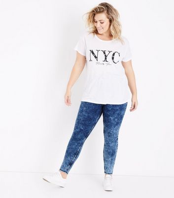 Curves Navy Acid Wash High Waist Skinny Jeans