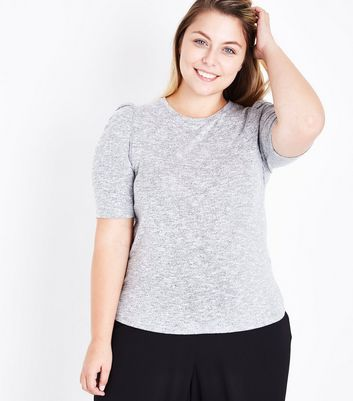 Curves Grey Fine Knit Puff Sleeve T-Shirt