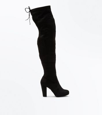 Black Comfort Suedette Platform Over The Knee Boots